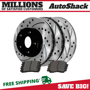 Front Rear Drilled Slotted Brake Rotors Ceramic Pads For 02 03 Mitsubishi Galant