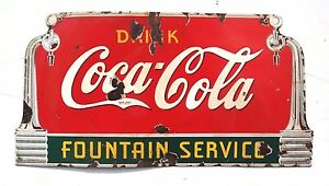 Vintage 1930's Coca Cola Fountain Service Soda Pop Porcelain Metal Sign 27