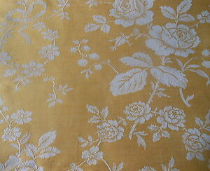 Antique Vtg French Yellow Gold Roses Garland Bows Damask Linen Ticking Fabric