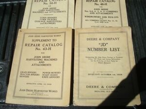 4 Old 1940 s John Deere Illus Parts Catalog Manual Cf233