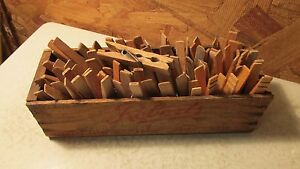 Antique Roberts Wood Cheese Box Wood Clothespins