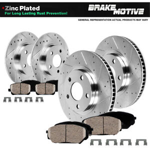 Front rear Drill Slot Brake Rotors ceramic Pads For 2004 2008 Acura Tl M t