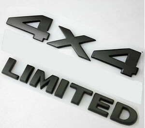 Set Black 4 X 4 3d Decal Emblem Limited For Ford Dodge Jeep Grand Cherokee