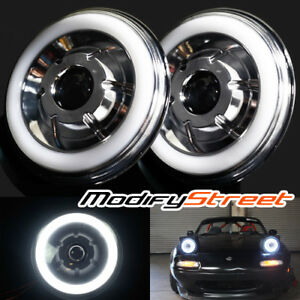 7 Inch Round Chrome Semi Sealed White Halo Retrofit Real Projector Headlights