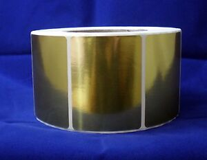Bright Gold Metallic Foil Labels 2 25 X 3 Rectangle Roll Of 100 Labels