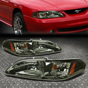 For 94 98 Ford Mustang Sn95 Smoked Housing Amber Corner Headlight Head Lamps