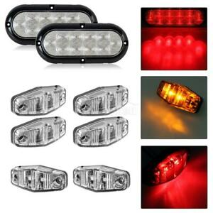 Universal Led Light Kit 2 Stop Turn Tail Marker 4amber 2red clear Lens