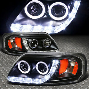 Halo Rings Led Drl For 1997 2003 Ford F150 Black Amber Projector Headlights