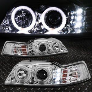 halo Ring led Drl for 1999 2004 Ford Mustang Chrome Amber Projector Headlight