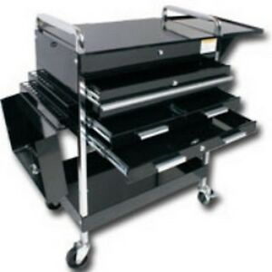 Sunex 8013abkdeluxe Deluxe Service Cart With Locking Top 4 Drawers Black