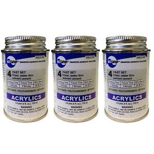 Weld on 4 Acrylic Adhesive 4 Oz Pack Of 3