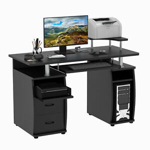 Homcom Wood Work Table Computer Desk Laptop Workstation Office Black
