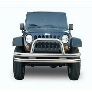 Rampage 86420 Stainless Double Tube Front Bumper W Hoop For 07 18 Wrangler Jk