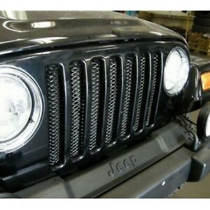 Rampage 86514 Gloss Black Powder Coat One piece 3d Grille For 97 06 Wrangler Tj