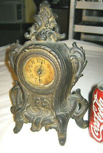 Antique Victorian Cast Iron Cherub Angel Statue Mantel Art Sculpture Desk Clock