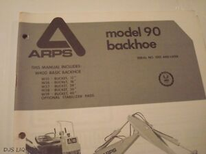 Arps 90 Backhoe Parts Operators Catalog Manual Sales Brochure Cf1046