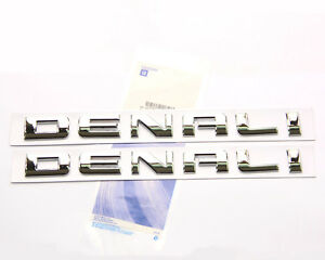 2x Oem Chrome Denali Nameplate Emblems Badges Gm Yukon Sierra Terrain Genuine