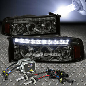Smoked Dual Halo Projector Led 1pc Headlight 10000k Hid Kit For 94 02 Ram Truck
