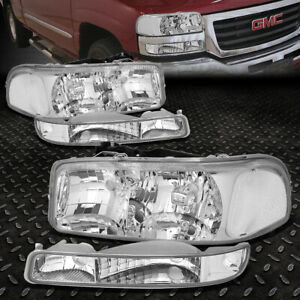 For 99 07 Gmc Sierra Yukon Xl Chrome Housing Clear Corner Headlight Bumper Lamps