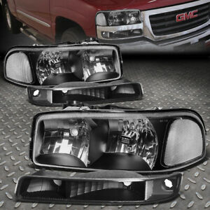 For 99 07 Gmc Sierra Yukon Xl Black Housing Clear Corner Headlight Bumper Lamps