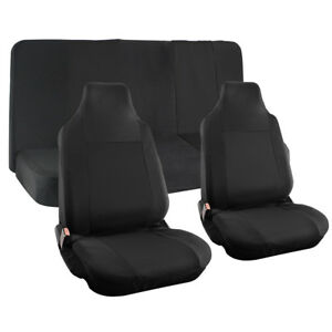 Truck Seat Cover For Dodge Ram Black Mesh Fit Bench Bucket Integrated Head Rests