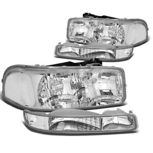 Fit 1999 2007 Gmc Sierra Yukon Chrome Housing Clear Corner Headlight Upper Lower