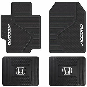 4pc Honda Accord Logo Universal Black Rubber All Weather Front Rear Floor Mats