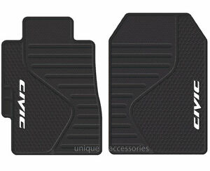 2 Piece Universal Black All Weather Rubber Front Floor Mats For Honda Civic