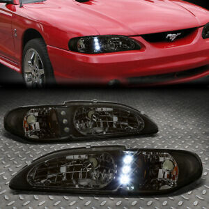 Led Drl For 94 98 Ford Mustang 1pc Smoked Housing Amber Corner Headlight Lamps