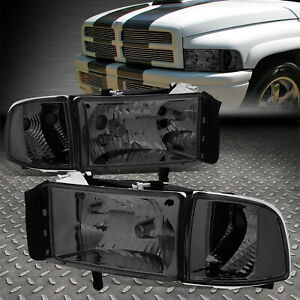 For 94 02 Dodge Ram 1500 2500 3500 Smoked Housing Clear Corner Headlight Lamps