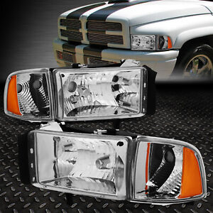 For 94 02 Dodge Ram 1500 2500 3500 Chrome Housing Amber Corner Headlight Lamps