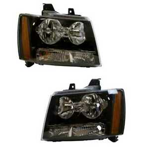 Fits 2007 2014 Chevy Suburban Tahoe Avalanche Headlights Aftermarket Left Right