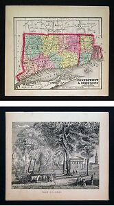 1857 Morse X 2 Map Print Connecticut Rhode Island View Of Yale College
