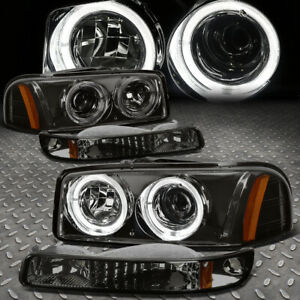 led Halo for 99 07 Gmc Sierra Yukon Xl Projector Headlight Bumper Lamps Smoked