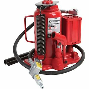 Strongway Air Hydraulic Bottle Jack 20 Ton Cap 10 7 16in 20 1 16in Lift Range