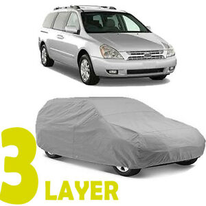 True 3 Layers Gray Fitted Van Cover Outdoor Water Sun Resistant For Kia Sedona