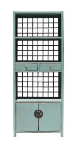 Chinese Oriental Turquoise Gray Blue Wood Display Cabinet Book Case Mh260