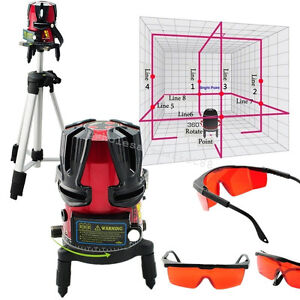 8 Line Rotary Laser Beam Self Leveling Interior Exterior Kit W Tripod Warranty