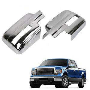 For 09 14 Ford F150 Pickup Truck Chrome Door Rear View Mirrors Cover Set Full