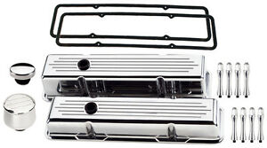 Billet Specialties Polished Short Valve Covers milled breather oil Cap acn sbc