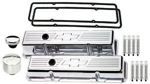Billet Specialties Polished Short Valve Covers chevy Bowtie breather cap rib sbc