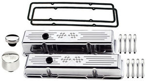 Billet Specialties Polished Short Valve Covers cross Flags breather cap acn sbc