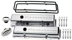 Billet Specialties Polished Tall Valve Covers chevrolet Script breather acn sbc