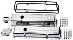 Billet Specialties Polished Tall Valve Covers Chevrolet Script Pcv Breather Ribd