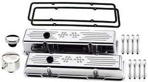 Billet Specialties Polished Tall Valve Covers Cross Flags Pcv Breather Acn Sbc