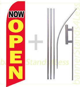 Now Open Swooper Flag Kit Feather Flutter Banner Sign 15 Rb