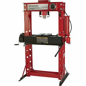 Strongway Air Hydraulic Shop Press With Gauge And Winch 50 Ton Capacity