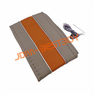 Pvc Leather Steering Wheel Cover With Needles Thread Diy Gray Size M Usa b3g