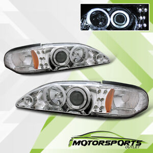 Ccfl Halo 1994 1995 1996 1997 1998 Ford Mustang Chrome Projector Headlights