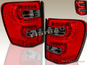 1999 2004 Jeep Grand Cherokee Led Tail Lights Red Smoke 99 00 01 02 03 04